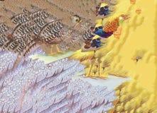 Oiseaux abstraits d'animaux de faisan d'aquarelle à l'arrière-plan floral Image libre de droits