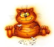 Oiseaux alimentants de bon chat rouge (dessin animé) Image stock
