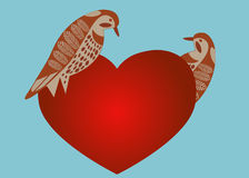Oiseaux avec le coeur Photographie stock