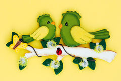 Oiseaux avec le guindineau et la coccinelle Photo libre de droits