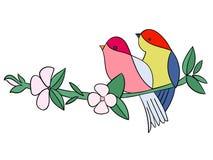 Oiseaux avec le vecteur de couleur de pochoir de tatouage de fleurs Image libre de droits