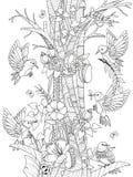 Oiseaux avec les éléments floraux illustration de vecteur