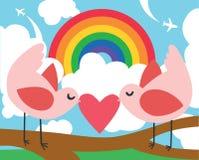 Oiseaux avec un coeur et un arc-en-ciel Images stock