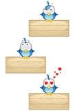 Oiseaux bleus sur le signe en bois - positionnement 3 Images libres de droits