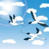 Oiseaux - ciel bleu et nuages - illustration Images libres de droits