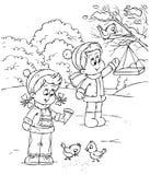 Oiseaux d'alimentation d'enfants Images stock