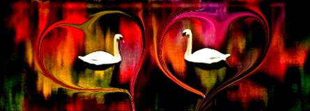 Oiseaux d'amour appréciant dans coloré et ombragés avec l'effet de la lumière et les vagues de la conception générée par ordinate illustration de vecteur