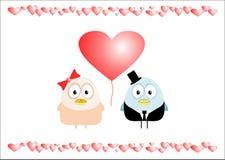 Oiseaux d'amour avec le coeur Photo stock
