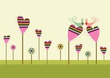 Oiseaux d'amour dans le jardin d'amour Illustration Stock