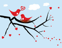 Oiseaux d'amour de Valentine Photo stock