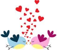 Oiseaux d'amour et un arbre illustration de vecteur