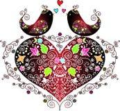 Oiseaux d'amour sur un coeur Image stock