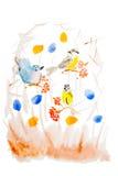 Oiseaux d'aquarelle sur des branches Photographie stock libre de droits
