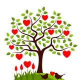 Oiseaux d'arbre et d'amour de coeur photo stock