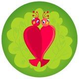 Oiseaux dans l'amour. illustration d'isolement de coeur Images libres de droits