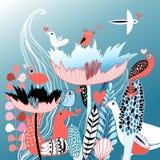 Oiseaux dans l'amour sur des fleurons Photographie stock