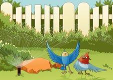 Oiseaux dans le jardin Photos stock