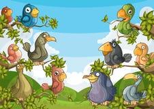 Oiseaux dans les arbres illustration de vecteur