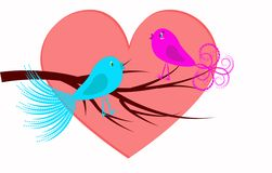 Oiseaux de couples Illustration de Vecteur