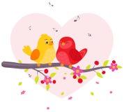 Oiseaux de couples se reposant sur la branche illustration de vecteur
