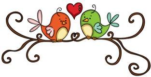 Oiseaux de couples sur la branche Images libres de droits
