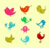 Oiseaux de griffonnage de dessin animé Photographie stock