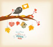 Oiseaux de thanksgiving et feuilles heureux d'érable illustration libre de droits