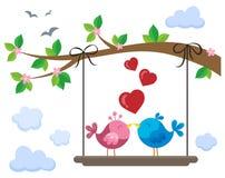 Oiseaux de Valentine à bord au-dessous de la branche 1 illustration de vecteur