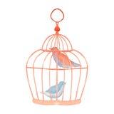 Oiseaux de vintage dans la cage Photos stock