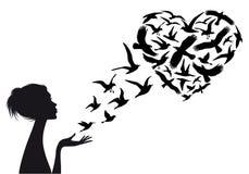 Oiseaux de vol en forme de coeur, vecteur Photos libres de droits