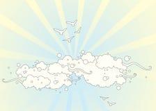 Oiseaux en nuages Images libres de droits