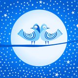 Oiseaux et étoiles de lune de glace Illustration Libre de Droits