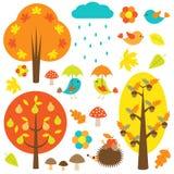 Oiseaux et arbres en automne illustration de vecteur