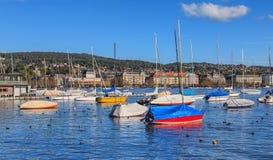 Oiseaux et bateaux sur le lac Zurich Images stock
