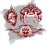 Oiseaux et flammes prédateurs - positionnement 1 illustration de vecteur