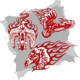 Oiseaux et flammes prédateurs - positionnement 2. Photographie stock libre de droits