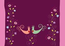 Oiseaux et fleurs d'amour illustration libre de droits