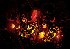 Oiseaux et illustration florale Photo stock