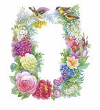 Oiseaux exotiques sauvages d'aquarelle sur des fleurs Photographie stock