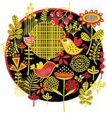 Oiseaux, fleurs et toute autre nature. Images libres de droits
