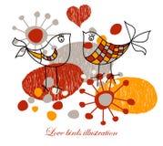 Oiseaux mignons d'amour illustration de vecteur