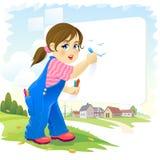 Oiseaux mignons d'un dessin d'enfant de fille sur un conseil blanc avec un beau paysage dans le contexte illustration de vecteur