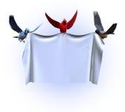 Oiseaux retenant un drapeau blanc - avec le chemin de découpage Image stock