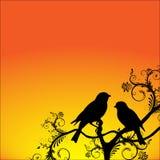 Oiseaux se reposant sur un branchement illustration libre de droits