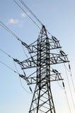 Oiseaux se reposant sur une tour électrique Photos libres de droits