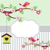 Oiseaux sur la carte de branches Photographie stock libre de droits