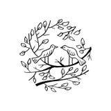 Oiseaux sur le branchement illustration de vecteur