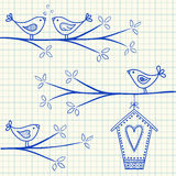 Oiseaux sur un dessin d'arbre Image stock