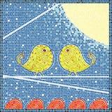 Oiseaux sur une mosaïque de fil Image libre de droits
