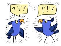 Oiseaux violets avec des bulles - le choc d'émotion, joie, embarrassent illustration libre de droits